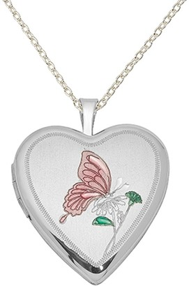 Sterling Silver Rhodium-plated 20mm Enameled Butterfly Heart Locket with 18-inch Cable Chain by Versil
