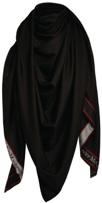 Alexander McQueen Triangle Wool-Silk Scarf