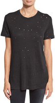IRO Clay Abstract Distressed Linen Tee, Black