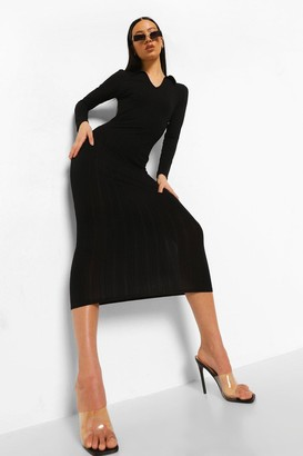 boohoo Collared Soft Jumbo Rib Midaxi Dress