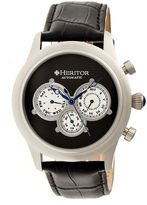 Heritor Automatic Earnhardt Mens Leather Day&Date-Silver/Black Watches