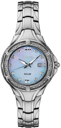 Seiko Women Solar Diamond Collection Diamond-Accent Stainless Steel Bracelet Watch 29mm