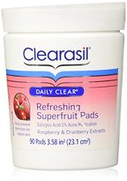 Clearasil Daily Clear Refreshing Superfruit Pads with Acne Prevention, Raspberry and Cranberry Extracts, 90 Count
