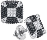Saris and Things Sterling Silver Womens Round Colored Diamond Square Corner Earrings 1/2 Cttw