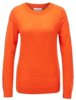 HUGO BOSS Regular-fit sweater in merino wool with crew neckline