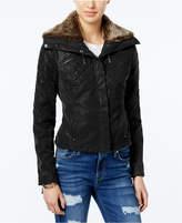 Joujou Jou Jou Juniors' Faux-Fur Collar Faux-Leather Jacket