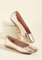 Sydney If a fun and functional footwear option is available, you're all over it! It's no wonder these rose gold flats caught your immediate attention, for their metallic finish, scalloped edges, and memory foam insoles - amazing, right? - fit every element of yo