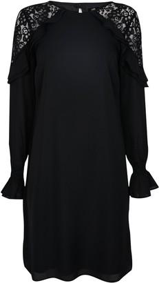 Wallis Black Lace Insert Ruffle Dress