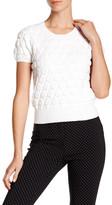 Pink Tartan Bubble Crop Short Sleeve Sweater