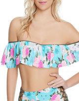 Betsey Johnson Floral-Print Off-The-Shoulder Bikini Top