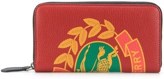 Burberry Crest Print Leather Ziparound Wallet