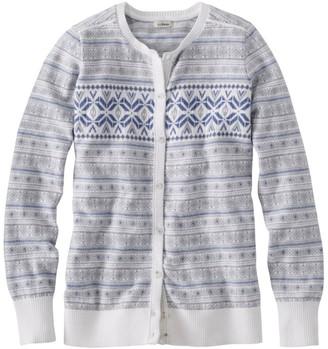 L.L. Bean Women's Cotton/Cashmere Cardigan, Button-Front Fair Isle