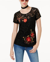 INC International Concepts Embroidered Lace T-Shirt, Created for Macy's