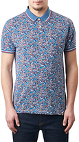 Pretty Green Camley Paisley Print Polo Shirt, Blue
