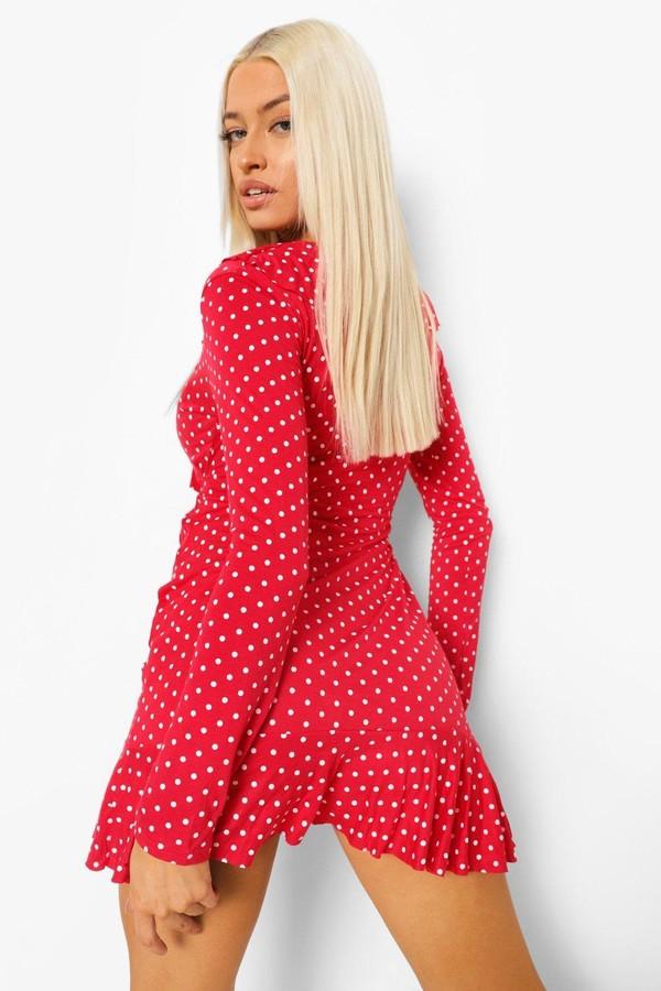 Thumbnail for your product : boohoo Long sleeve Polka Dot Ruffle Tea Dress