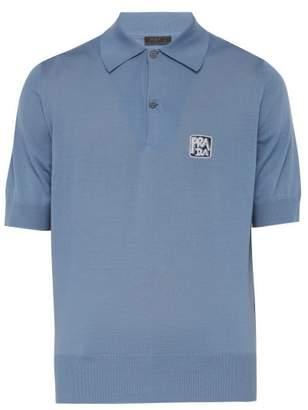 Prada Intarsia-logo Virgin Wool-jersey Polo Shirt - Mens - Light Blue