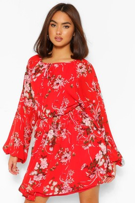 boohoo Floral Balloon Sleeve Tie Neck Skater Dress