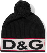 Dolce & Gabbana Intarsia Wool-blend Beanie - Black
