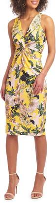 Christian Siriano Twist Front Scuba Knit Sleeveless Sheath Dress
