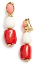Oscar de la Renta Women's Semiprecious Stone Bead Clip Earrings