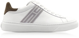 Hogan H340 White Leather with Green Nubuck Men's Sneakers