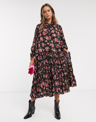 Sister Jane midi smock dress with pleated skirt in rose print