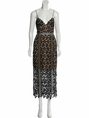 Self-Portrait Lace Pattern Midi Length Dress Black