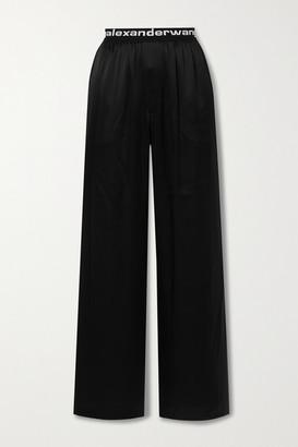 alexanderwang.t - Silk-satin Wide-leg Pants - Black