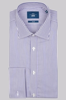Moss Bros Slim Fit Purple Single Cuff Stripe Shirt