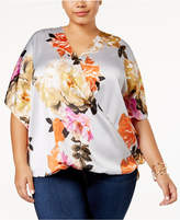 INC International Concepts Plus Size Printed Surplice Top, Created for Macy's