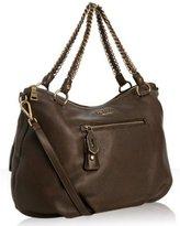 brown deerskin zip front shoulder bag