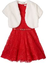 Knitworks Girls 7-16 Faux-Fur Bolero & Gold Sequin Soutache Dress Set
