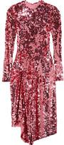 Preen by Thornton Bregazzi Carlin Asymmetric Sequined Tulle Midi Dress - Pink