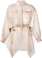 Fendi sheer long sleeve shirt - women - Cotton/Polyester/Viscose - 38