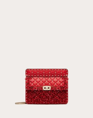 Valentino Medium Rockstud Spike.it Bag With Coral Embroidery Women Rouge Pur Silk 100% OneSize