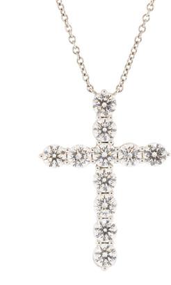 Kwiat Platinum Round Diamond Cross Necklace