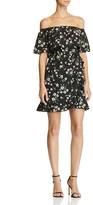 Aqua Floral Ruffle Off-The-Shoulder Dress