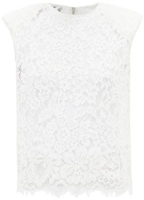 Self-Portrait Padded-shoulder Cotton-blend Corded-lace Top - Ivory