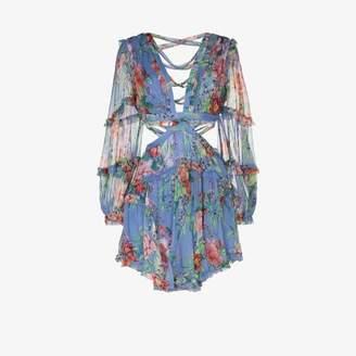Zimmermann Womens Blue Zim Bellitude V/n L/s Cuff Slv Mini Dres