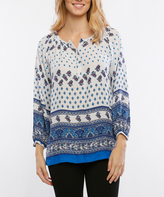 Blue & White Arabesque Notch Neck Tunic