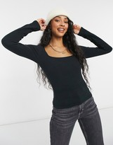 Thumbnail for your product : New Look square neck ribbed t-shirt in black
