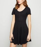 New Look Ribbed Button Up Skater Dress