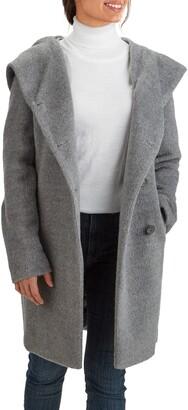 Cole Haan Wool Blend Hooded Coat