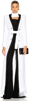 Balmain Long Frayed Tweed Belted Cardigan in White & Black | FWRD