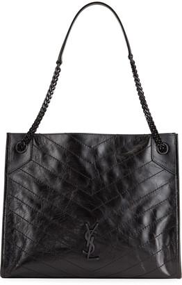 Saint Laurent Niki Medium Crinkled Calf Shopper Tote Bag