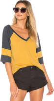 Chaser Blocked Jersey V Neck Tee in Mustard. - size S (also in )