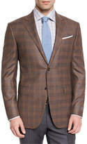 Ermenegildo Zegna Plaid Wool Two-Button Sport Coat, Cognac