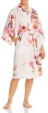 Natori Floral Print Satin Robe