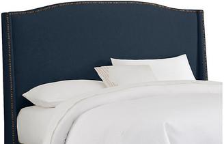 One Kings Lane Cole Wingback Headboard - Navy Linen - Full