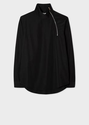 Paul Smith Men's Black Smock Shirt With Neck Zip Detail